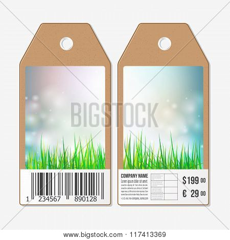 Vector tags design on both sides, cardboard sale labels with barcode. Spring background, blue sky an