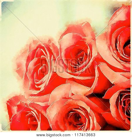 Close of red rose bouquet- A hand painted watercolor sketch for wall art.