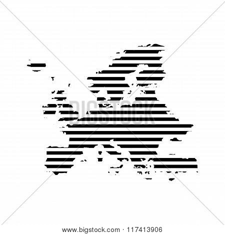 Black linear symbol of europe map on white, vector illustration