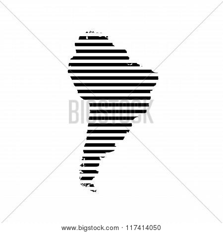 Black linear symbol of south America map on white, vector illustration