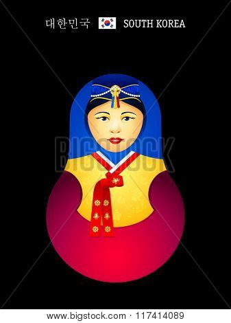 Matryoshkas of the World: Korean girl in hanbok dress.  Near a flag is an official country name written in English and Korean.