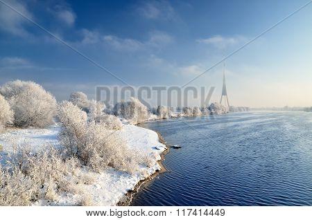 Winter Landscape. Daugava River And Tv Tower