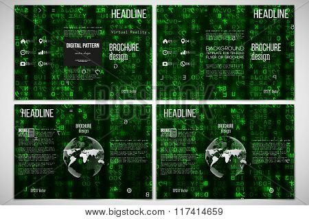 Set of tri-fold brochure design template on both sides. Virtual reality, abstract technology backgro