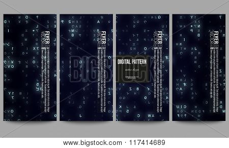 Set of modern flyers. Virtual reality, abstract technology background with blue symbols, vector illu