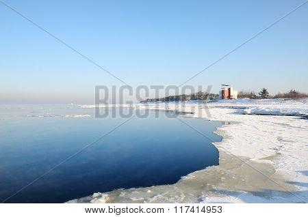 View of Baltic sea shore in winter