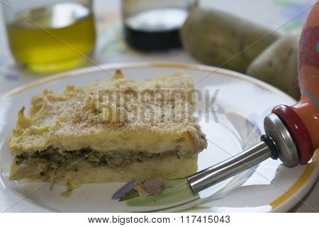 Timbale Of Potatoes Stuffed With Vegetables