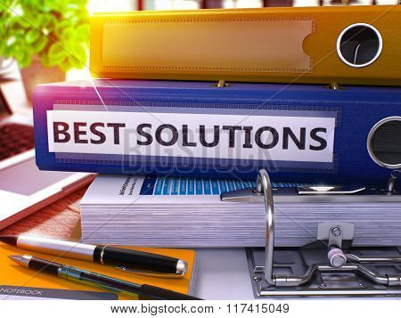 Blue Office Folder with Inscription Best Solutions