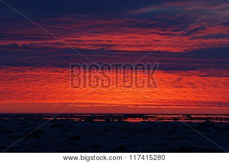 Colourful red sunset in the Baltic sea
