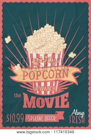 Enjoy Popcorn And Watch The Movie. Poster Design Template With Popcorn Bucket. Crumpled Paper Effect
