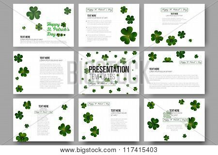Set of 9 vector templates for presentation slides. Green clovers on white, St Patricks day decoratio
