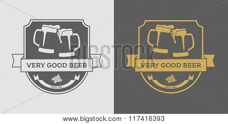 Beer Logo Design Element In Vintage Style For Logotype, Label, Badge, Poster And Other Design. Brewe