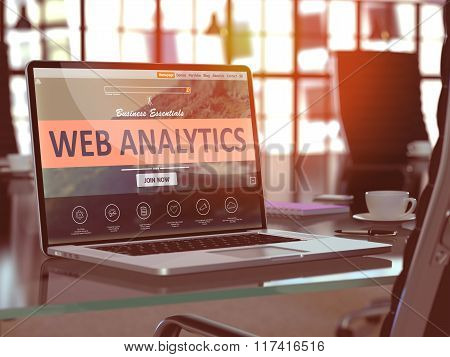 Web Analytics Concept on Laptop Screen.
