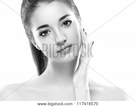Beautiful Woman Portrait Face Studio Isolated On White Black And White