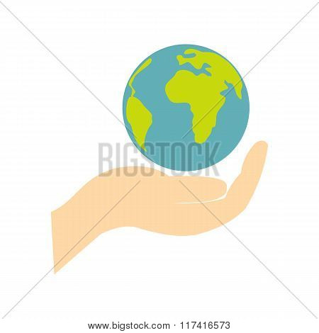 Globe in hand flat icon