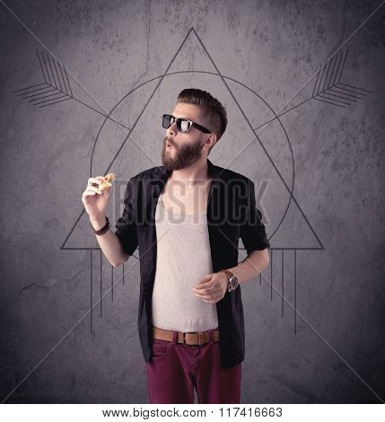 A young hipster male in modern clothes standing in front of an urban wall with modern sign illustration concept