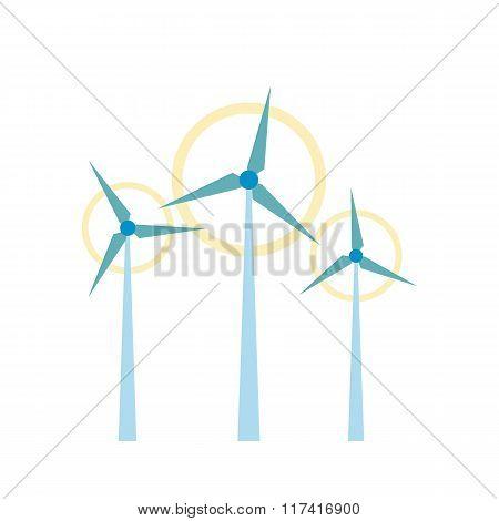 Wind turbine flat icon