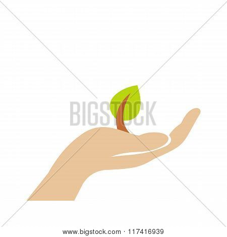 Sprout in hand flat icon