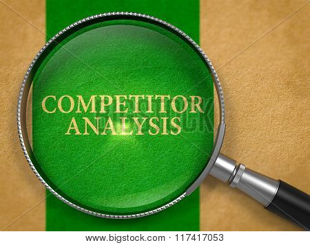 Competitor Analysis through Loupe on Old Paper.