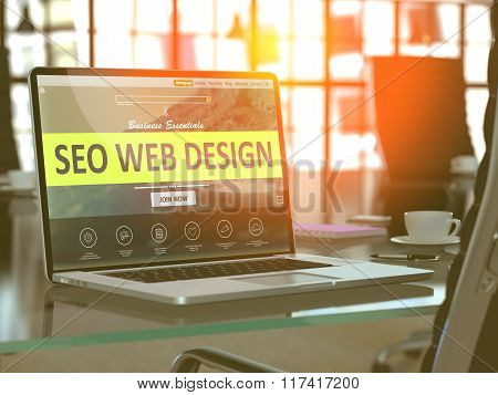 SEO Web Design Concept on Laptop Screen.