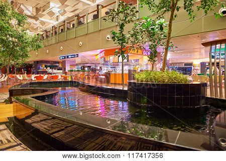 SINGAPORE - NOVEMBER 10, 2015: interior of Changi Airport. Singapore Changi Airport, is the primary civilian airport for Singapore, and one of the largest transportation hubs in Southeast Asia
