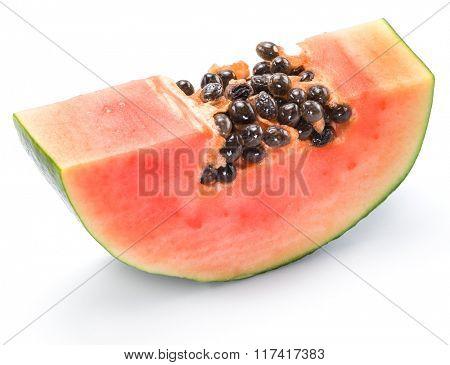 Papaya fruit slice isolated on a white background.