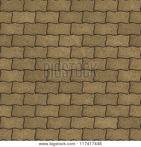 Sand Color Paving Slabs as Wavy Parallelograms.