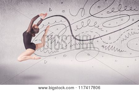 Ballet dancer performing art dance with hand drawn lines and arrows concept on background