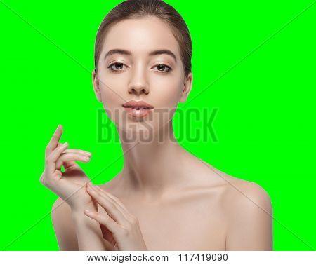Beautiful Woman Portrait Face Chroma Key Green Background