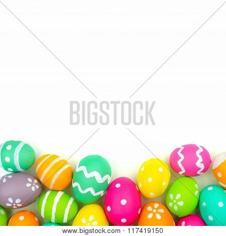 Easter egg bottom border over white