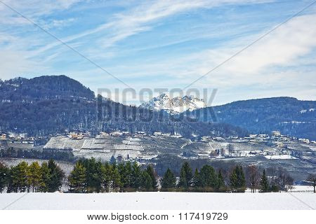 Landscape On Countryside In Snowy Switzerland In Winter