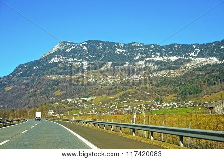 View From Road To Snow Covered Switzerland