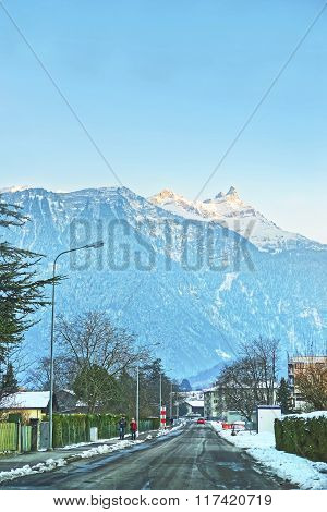 Mountain View Of Road In Town In Winter Switzerland