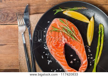 Steak Salmon With Fresh Ingredients