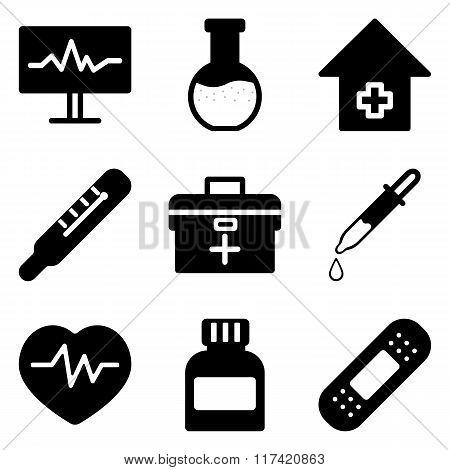 Set Of Black Medical Icons.