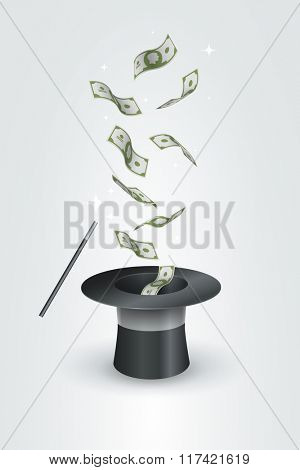 Money flying out the top hat. Magic trick concept vector illustration.