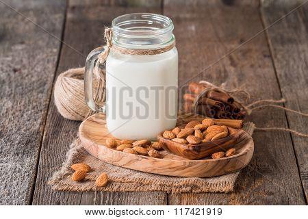 Almonds Milk In A Glass Jar With Almonds