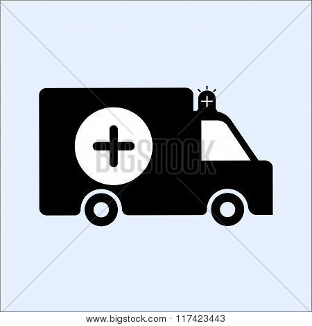 Car Icons Silhouetted. Ambulance Car