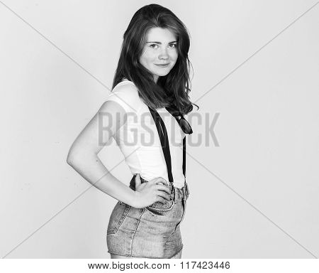 Beautiful Young Women Posing Standing Against Grey Background Black And White