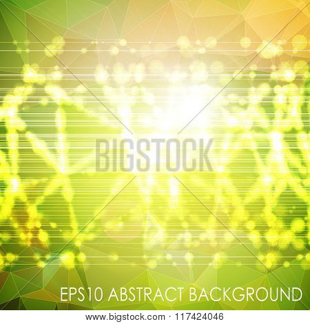 Abstract vector background. Triangle pattern with beams and lights. Green colors.