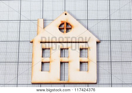 Graph Paper With Wooden House