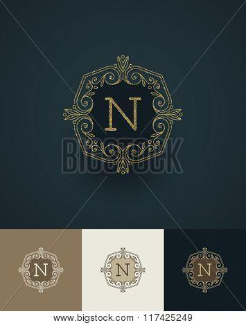 Vector illustration- glitter gold monograms
