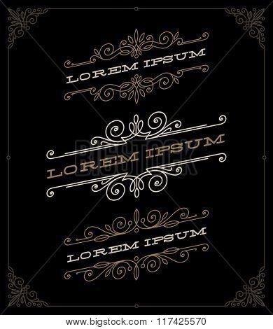Vector set of elegant vintage ornamental emblems and logos templates
