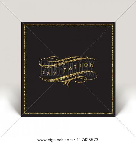 Template invitation with glitter gold flourishes elements - vector illustration