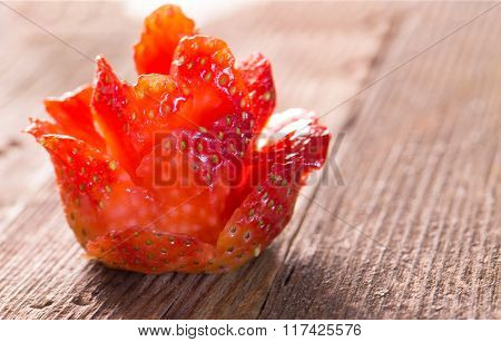 Culinary Ornament - A Rose From Ripe Strawberry, On An Old Gray Board