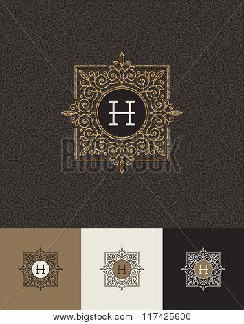 Vector design - glitter gold monograms