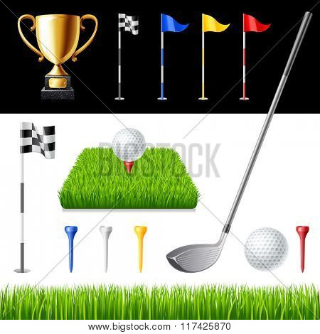 Golf club icons set isolated vector illustration