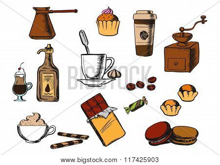 Coffee drinks and dessert icons