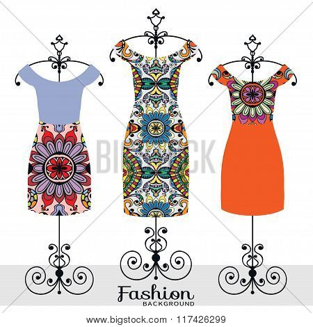 Vector fashion illustration, women's dress collection