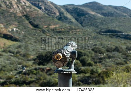 Viewing Scope at Lookout Point with Mountain Range.
