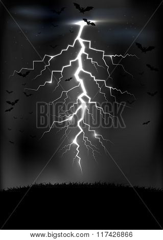 Lightning storm background with a bats